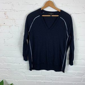 JCrew Merino Wool Tipped Side-Panel V-Neck Sweater